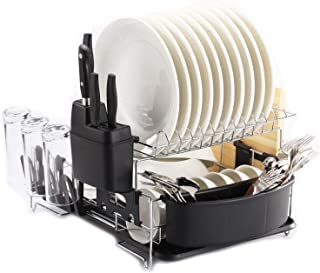PremiumRacks Professional Dish Rack - 316 Stainless Steel - Fully Customizable - Microfiber Mat Included - Modern Design - Large Capacity