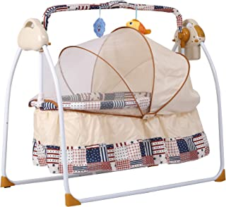 Shopizone® Portable Electric Baby Cradle Swing Music Sleeping Basket Bed Lightweight and Transportable (White & Brown)