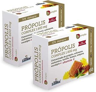 Própolis complex 1.600 mg 60 cápsulas con echinácea. malvavisco. tomillo. drosera. vitamina C. eucalipto y orégano. (Pack 2 unid.)
