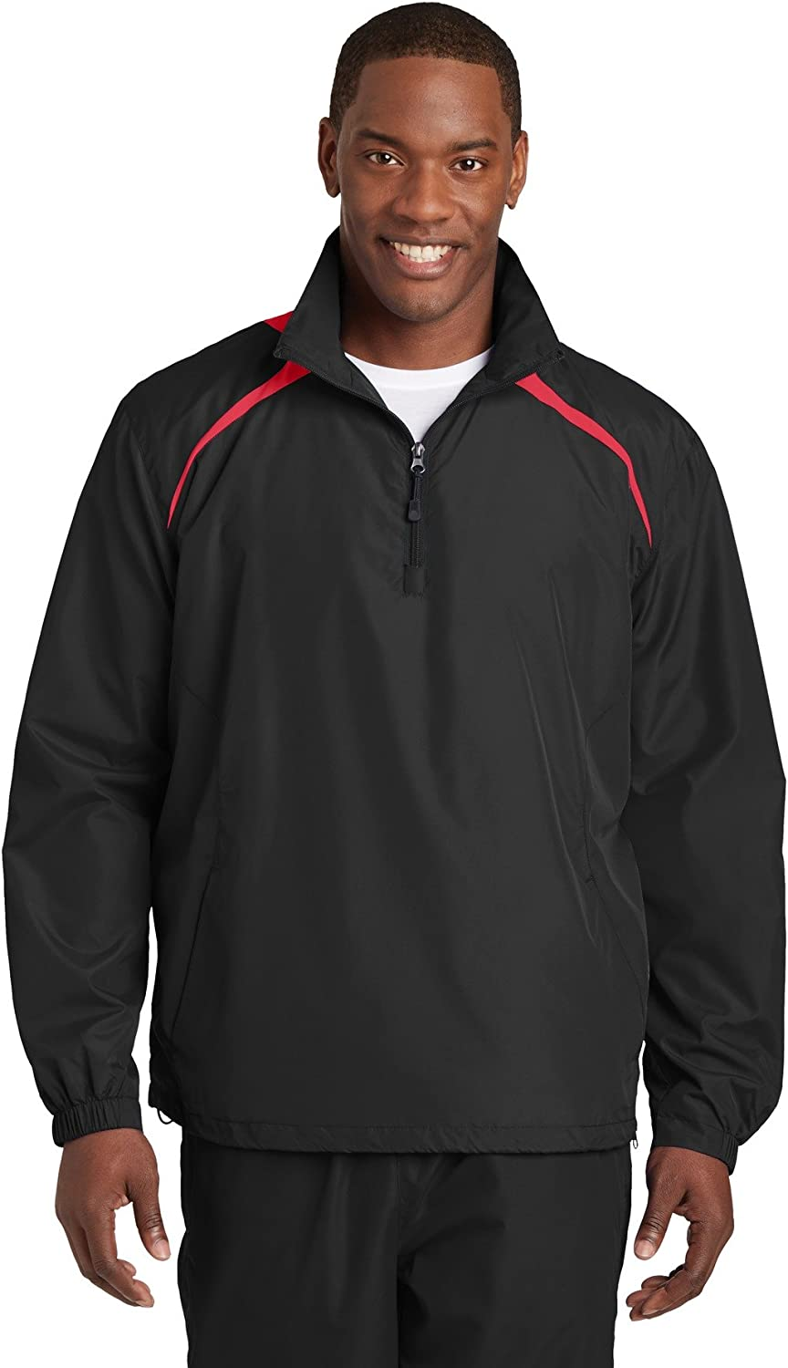 Big Mens 1 2Zip Wind Shirt by SportTek  Medium ( Black True Red )