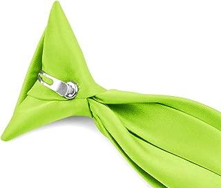 Moda Di Raza - Boy's NeckTie Solid Clip on Polyester Tie - Boys' Kids' Children's Solid Color Boys Formal Wear Pre-Tied Polyester Clip Necktie - Hot Lime/14