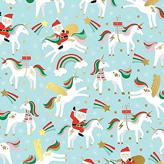 Christmas Unicorns Folded Christmas Wrapping Paper, 2 Feet x 10 Feet Folded Gift Wrap with Unicorns and Santa Claus, Revel™ F