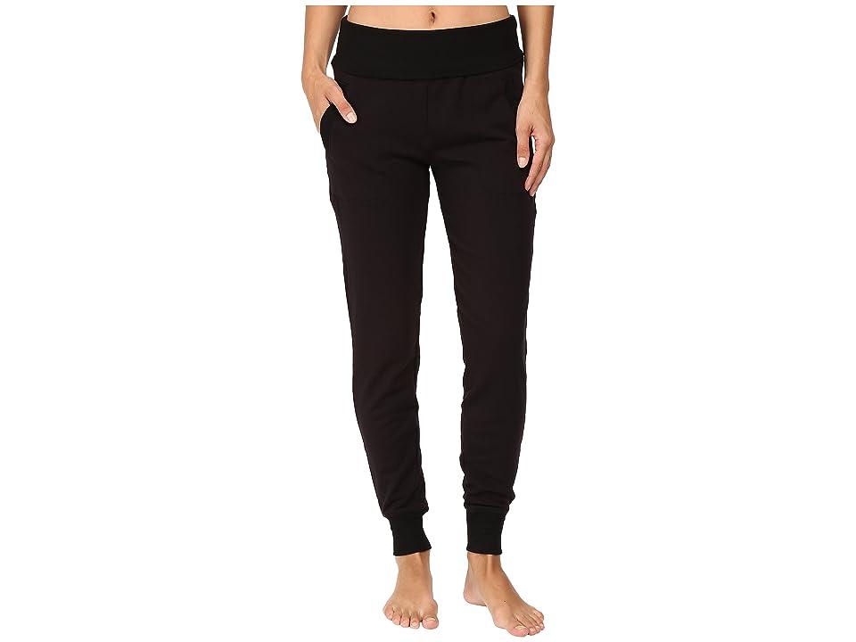 Beyond Yoga Fleece Fold-Over Sweatpants (Black) Women