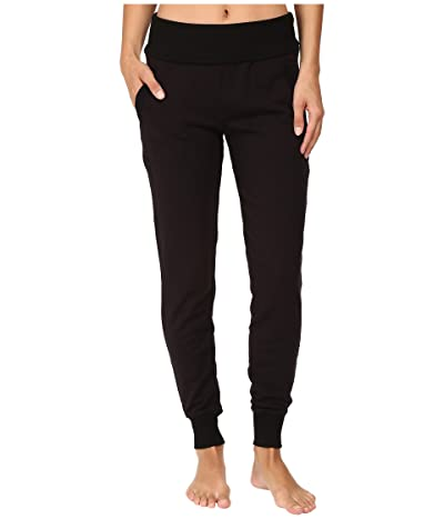 Beyond Yoga Fleece Fold-Over Sweatpants (Black) Women