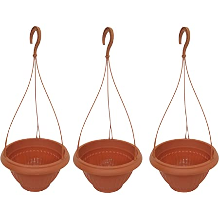Family Plastics Hanging Planter Pot | Plant Container | Indoor | Outdoor | Balcony Hanger | Home Garden - (Set of 3)