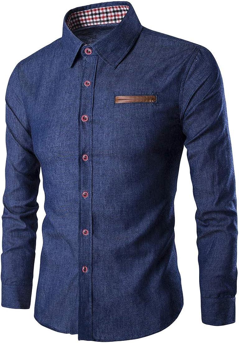 YND Men's Casual Button Down Shirts, Long-Sleeve Denim Work Shirt