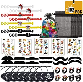 Zezzxu Pirate Party Favor,102pcs Pirate Party Supplies Party Pack Includes Rings Bracelets,Pirate Eye Patch,Mustache,Tattoos Stickers,Fake Gemstones for Kids' Party Cosplay Game
