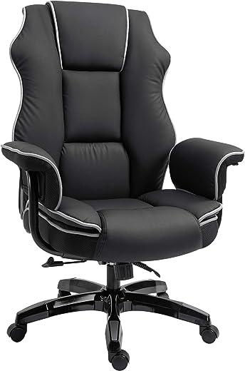 Vinsetto Ergonomischer Bürostuhl mit Armlehnen, Höhenverstellbarer Schreibtischstuhl mit Wippfunktion, Drehstuhl, Kunstleder, Schwarz, 76 x 80 x…