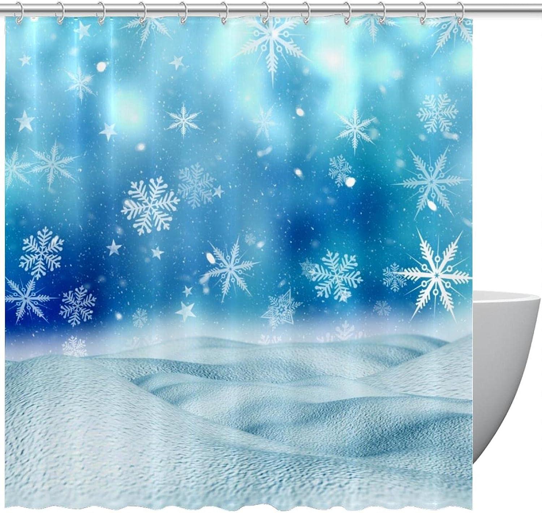Christmas low-pricing Snowflakes Snow Blue Fabric Curtain Modern Shower Dec Rare
