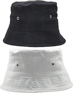 Zacharias Unisex Cotton Fishermen Bucket Cap Hat (Pack of 2) (c-87_Black & White_Free Size)
