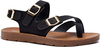 2672dec54 Herstyle Sure Thing Women s Fashion Buckle with Ankle Strap Flat Sandals  Greek Platform Low Wedge Shoes