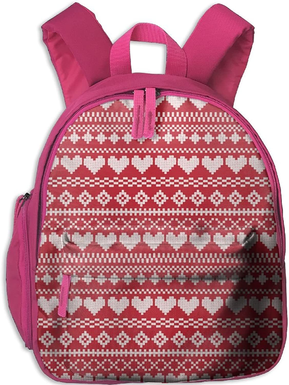 School Bag Red And White Fair Isle(448) With Durable Travel Camping Backpack For Boys And Girls