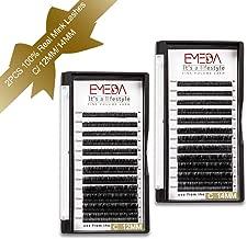 EMEDA 2 Packs 100% Real Mink Individual Eyelash Extensions 100% Real Siberian Mink Fur Lashes C Curl 12mm&14mm False Eyelashes Individual Lash Extensions 3D