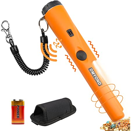 Metal Detector Pinpointer, Professional Waterproof Handheld Pin Pointer Wand, Search Treasure Pinpointing Finder Probe with 9V Battery and LED for Adults, Kids -- Orange