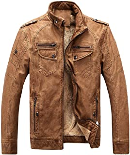 NRUTUP Jackets for Men Winter Sale Plus Size Leather Plus Velvet Washed Retro Leather Coat Outwear Top Blouse