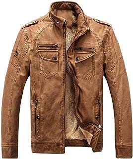 VEZAD Men Winter Plus Size Zip Jacket Thickening Coat Retro Leather Outwear
