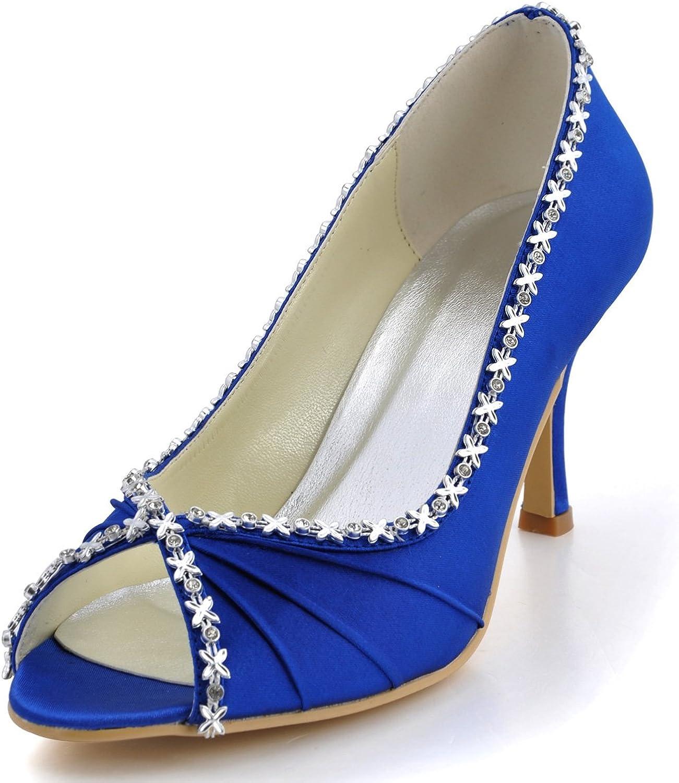 ElegantPark EP2094 Peep Toe Ruched Rhinestones High Heel Wedding Bridal shoes