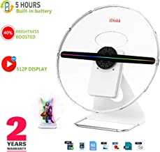 12 INCH 3D Hologram Fan,IDISKK ORIGINALDESIGNED Portable Holographic Display Projector Photo and 512P HD Video Advertising Projector Fan for Shops Office Business Home