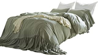 Omelas Sage Green Washed Cotton Duvet Cover Set Queen Size Mermaid Tail Fringe Ruffle Comforter Cover Solid Color Vintage Bedding Farmhouse Romantic, 1 Duvet Cover + 2 Pillow Shams (3pcs, Queen/Full)