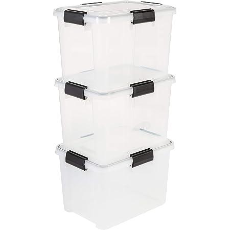 Iris Ohyama, Lot de 3 Boîtes Caisses de Rangement Hermétiques-Air Tight Box-AT-SD, Plastique, Transparent, 20 L, 39 x 29 x 26 cm