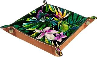 Plateau à bijoux Feuille de fleur et oiseau Plateau de rangement pour bijoux en cuir Petite boîte de rangement Organisateu...