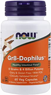 NOW Supplements, Gr8-Dophilus™with 8 Strains & 4 Billion Potency, Shelf Stable, 60 Veg Capsules