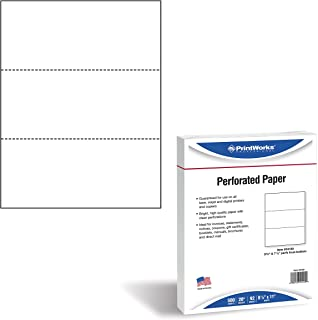 """PrintWorks Professional Paper, 8.5 x 11, 20 lb, 2 Horizontal Perfs 3.66"""" and 7.33"""", 500 Sheets, White (04120)"""