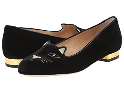 Charlotte Olympia Kitty Flats (Black/Gold Velvet/Metallic Calf) Women