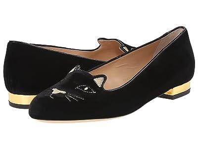 Charlotte Olympia Kitty Flats (Black/Gold Velvet/Metallic Calf) Women