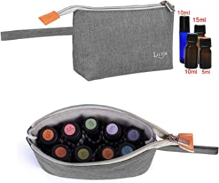 Luxja Essential Oil Carrying Bag - Holds 8 Bottles (5ml-15ml, Also Fits for Roller Bottles), Portable Organizer for Essential Oil and Small Accessories, Gray