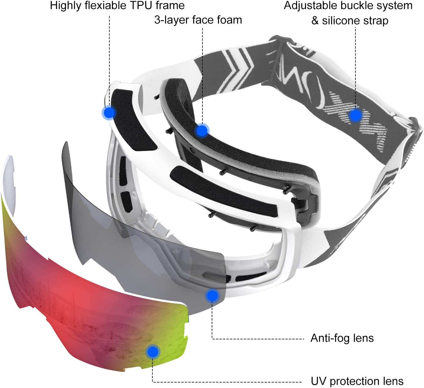 NXONE Ski Goggles for Men and Women Anti-Fog Over Glasses Snowboard Goggles with UV Protection Windproof Helmet Compatible Dual Lens Goggles-100/% UV Protection
