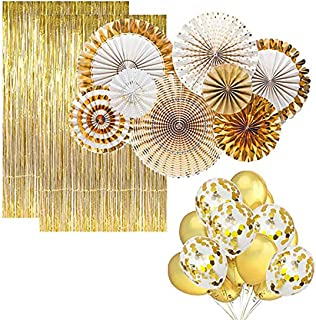 Party Propz 30pcs Golden Party Decorations Kit Gold Balloons, Paper Fans, Gold Foil Curtains And Ribbon For Marriage /New ...