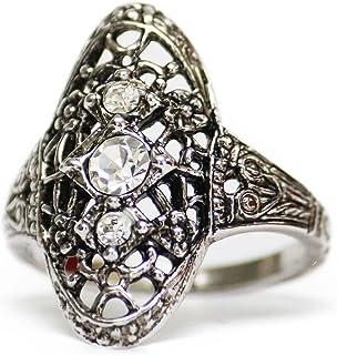 Providence 复古珠宝透明施华洛世奇水晶复古 18k 白金电镀金银丝戒指