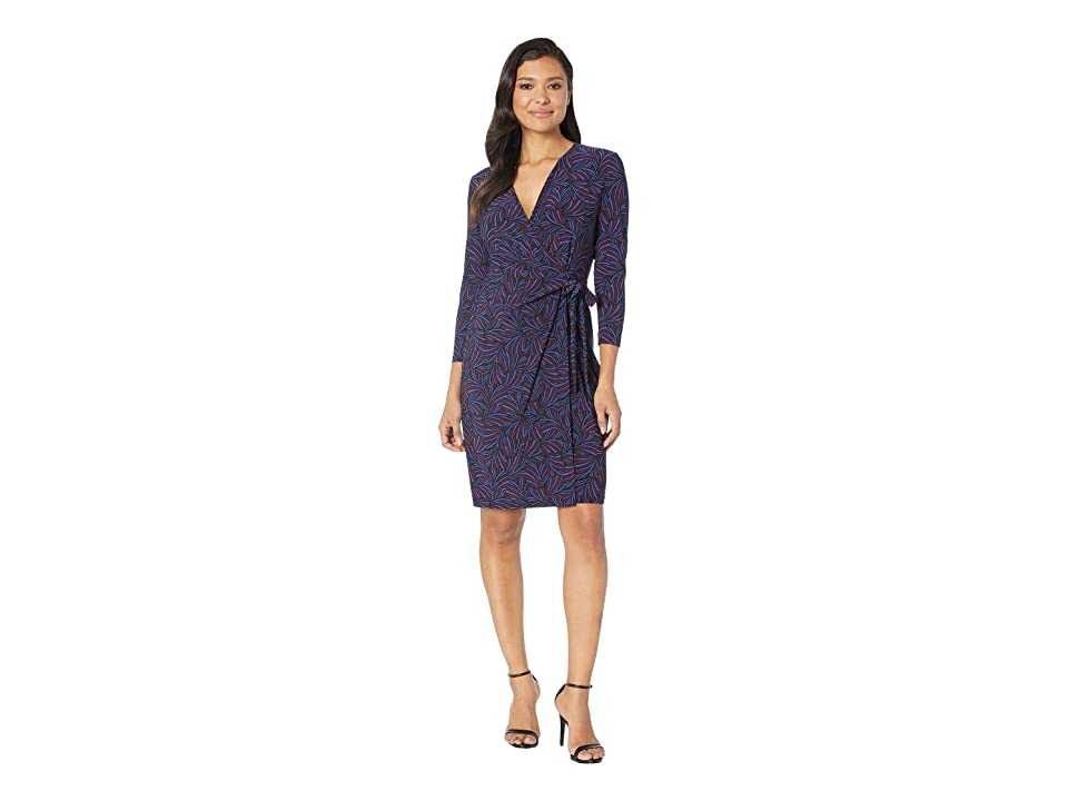 Anne Klein Celeste Faux Wrap Dress (Gauguin/Cordovan/Combo) Women