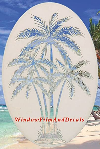 Oval Palm Tree Etched Window Decal Vinyl Glass Cling 21 X 33 White With Clear Design Elements