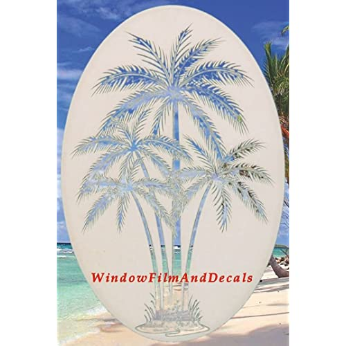 Palm Tree Etch Effect Frosted Vinyl Window Sticker