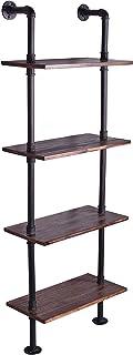 24 Inch Industrial Pipe Shelves-Wall Mounted Metal Pipe Wood Shelf-Rustic Pipe Ladder Bookshelf Bookcase-DIY Open Pipe Shelving