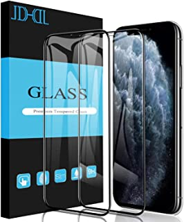 JDHDL iPhone 11 Pro Max Screen Protector Tempered Glass, Full Coverage Clear Anti-Shatter Scratch Proof 9H Tempered Glass for iPhone 11 Pro Max & iPhone Xs Max, Replacement Warranty [2-Pack]