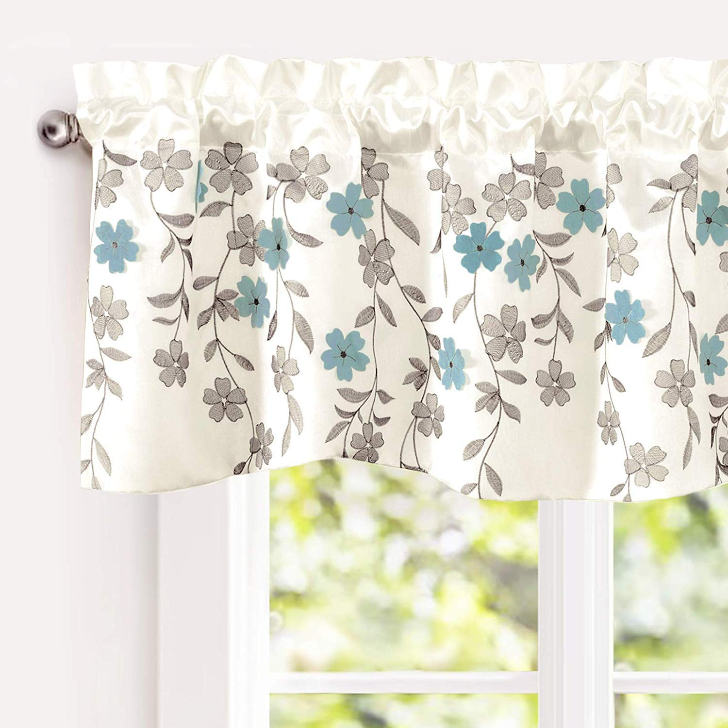 blue kitchen curtains amazon com rh amazon com Modern Kitchen Curtains in Turquoise Blue Country Chic Kitchen