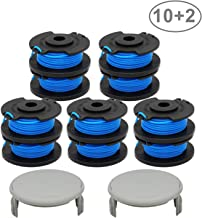 "RONGJU 10 Pack Weed Eater String Spool Replacement Compatible with Ryobi One AC14RL3A for Ryobi 18v, 24v, 40v Cordless Trimmers Line 11ft 0.065"", 2 Pack String Trimmer Caps (10Spools, 2 Caps)"