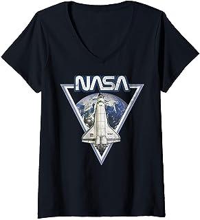 Femme NASA Triangle Earth Logo Shuttle Flight T-Shirt avec Col en V