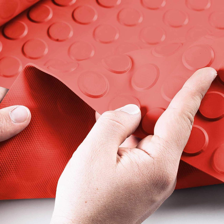 ANRO Noppenmatte Geruchsarm Bodenmatte Gummil/äufer TPE 3mm dick Gummimatte Flachnoppen Grau 180 x 100cm
