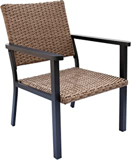 C-Hopetree Outdoor Lounge Chair for Outside Patio Porch, Metal Frame, Natural All Weather Wicker