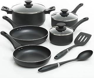 Oster Ashford 10 Piece Nonstick Cookware Set, Black