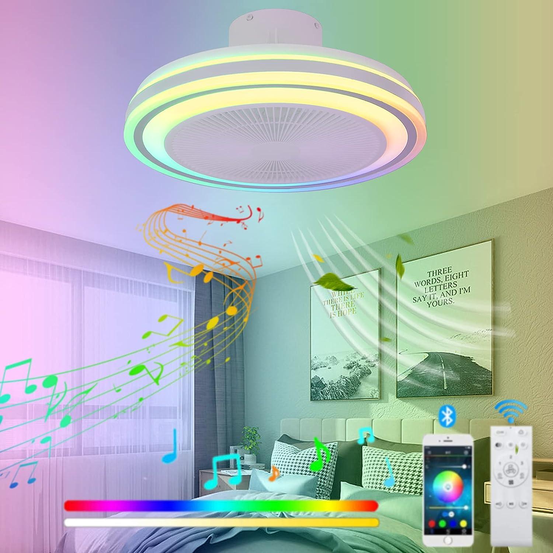 VOMI Cuarto Lámpara de Techo con Mando a Distancia y Bluetooth Altavoz Ventilador de Techo con Luz 60W LED Regulable RGB Cambios de Color Candelabro Silencioso Ventilador para Salón Restaurante