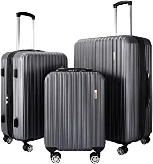 """DON PEREGRINO Lightweight 3 Piece Set Luggage 22"""" Carry-On, 24"""" & 28"""" Checked, Expandable Hardshell Suitcases with TSA Loc..."""