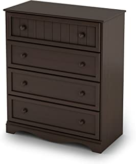 South Shore Savannah Collection 4-Drawer Dresser, Espresso with Round Wooden Knobs
