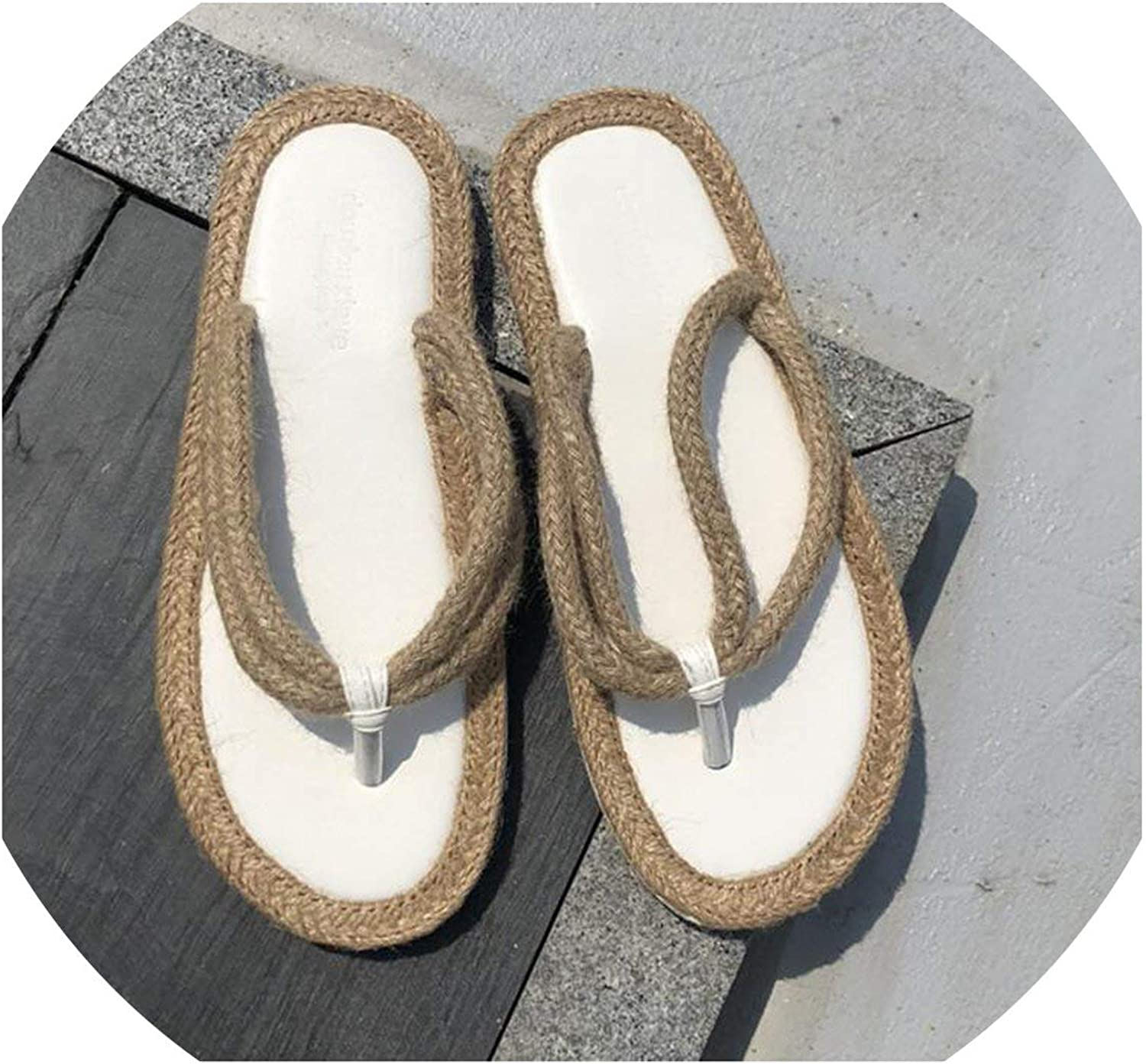 April With You Straw Knitting Slippers Women Flat Summer Slippers Black Beige Double Rope Thong Beach Slippers