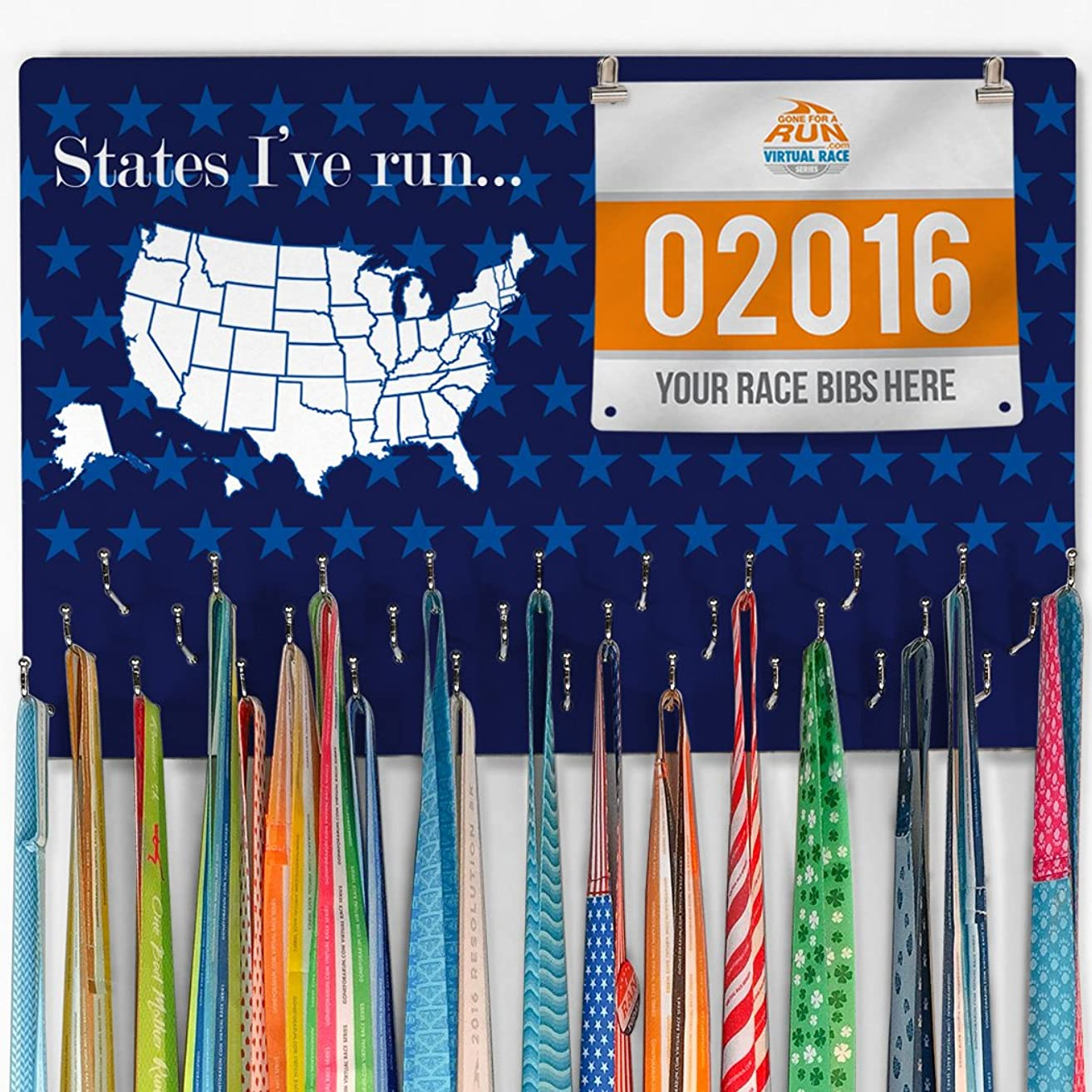 Gone For a Run Hooked On Medals and Bibs | Medal Hanger and Bib Display | Running The USA Color in Map