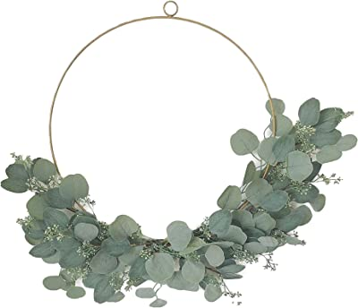 Eucalyptus Hoop Wreath with Lights - 20 Inch, 48 LED Lights, Gold Metal Hanging Ring with Floral Decoration, Green Velvet Ribbon, Easter / Spring Front Door Decor - Timer & Batteries Included